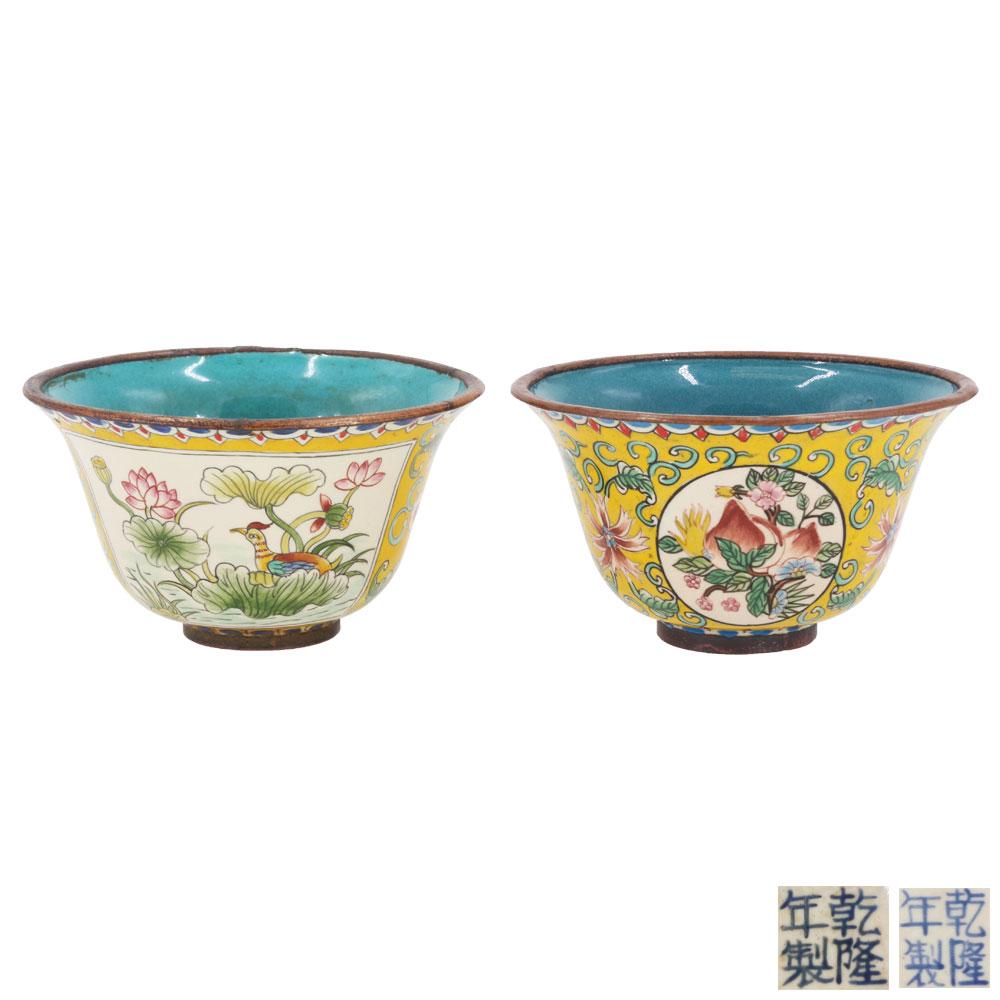 黃釉花鳥壽桃紋套杯(壹對)