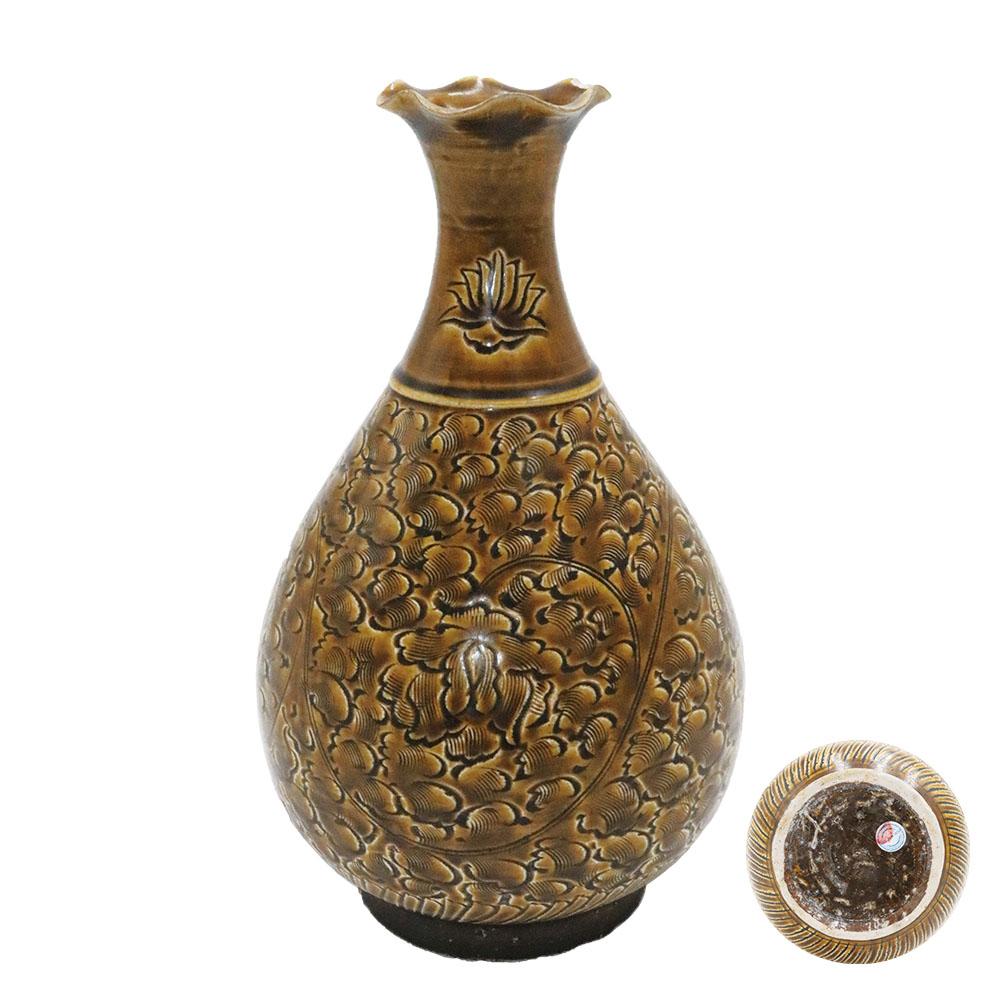 磁州窯醬釉纏枝花卉花口瓶